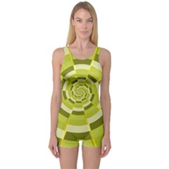 Crazy Dart Green Gold Spiral One Piece Boyleg Swimsuit by designworld65