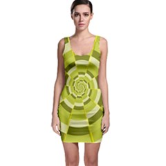 Crazy Dart Green Gold Spiral Sleeveless Bodycon Dress by designworld65