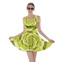 Crazy Dart Green Gold Spiral Skater Dress by designworld65