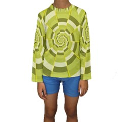 Crazy Dart Green Gold Spiral Kids  Long Sleeve Swimwear by designworld65