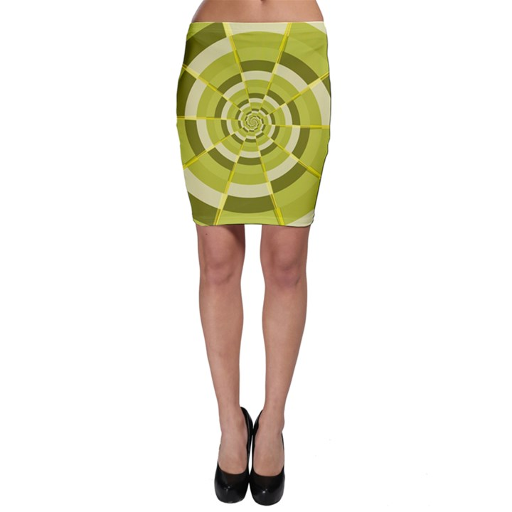 Crazy Dart Green Gold Spiral Bodycon Skirt