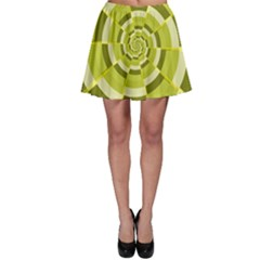 Crazy Dart Green Gold Spiral Skater Skirt by designworld65