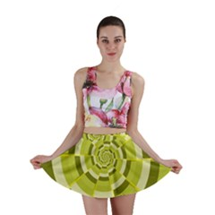Crazy Dart Green Gold Spiral Mini Skirt by designworld65
