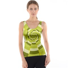 Crazy Dart Green Gold Spiral Tank Top by designworld65