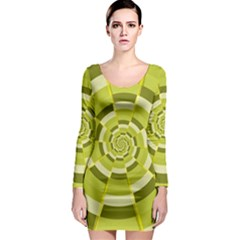 Crazy Dart Green Gold Spiral Long Sleeve Bodycon Dress by designworld65