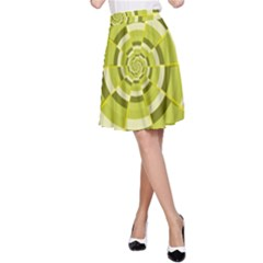 Crazy Dart Green Gold Spiral A Line Skirt