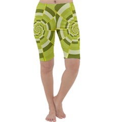 Crazy Dart Green Gold Spiral Cropped Leggings  by designworld65