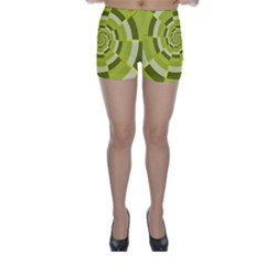 Crazy Dart Green Gold Spiral Skinny Shorts by designworld65