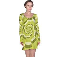 Crazy Dart Green Gold Spiral Long Sleeve Nightdress by designworld65