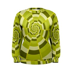 Crazy Dart Green Gold Spiral Women s Sweatshirt