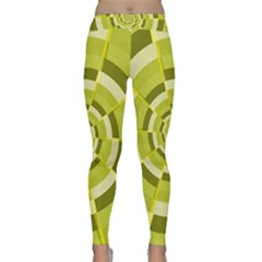 Crazy Dart Green Gold Spiral Yoga Leggings  by designworld65