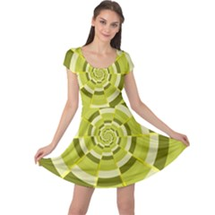 Crazy Dart Green Gold Spiral Cap Sleeve Dresses by designworld65