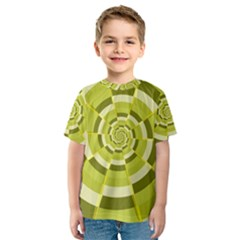 Crazy Dart Green Gold Spiral Kids  Sport Mesh Tee by designworld65