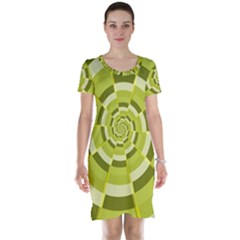 Crazy Dart Green Gold Spiral Short Sleeve Nightdress by designworld65