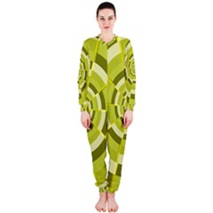 Crazy Dart Green Gold Spiral Onepiece Jumpsuit (ladies)  by designworld65