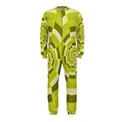 Crazy Dart Green Gold Spiral Onepiece Jumpsuit (kids) by designworld65