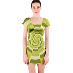 Crazy Dart Green Gold Spiral Short Sleeve Bodycon Dress by designworld65