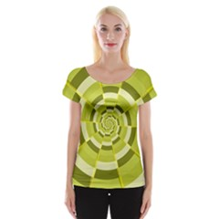 Crazy Dart Green Gold Spiral Women s Cap Sleeve Top by designworld65