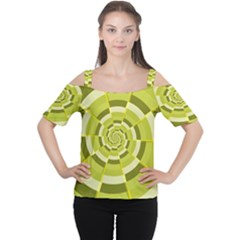 Crazy Dart Green Gold Spiral Women s Cutout Shoulder Tee by designworld65
