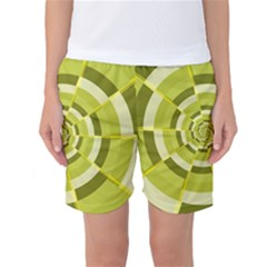 Crazy Dart Green Gold Spiral Women s Basketball Shorts by designworld65