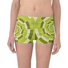 Crazy Dart Green Gold Spiral Boyleg Bikini Bottoms by designworld65
