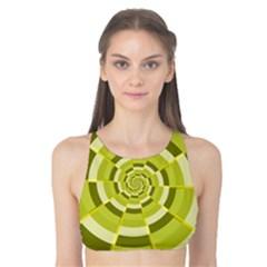 Crazy Dart Green Gold Spiral Tank Bikini Top by designworld65