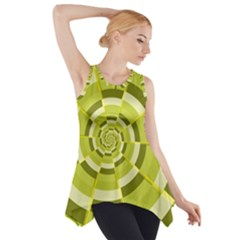 Crazy Dart Green Gold Spiral Side Drop Tank Tunic by designworld65