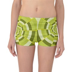Crazy Dart Green Gold Spiral Reversible Boyleg Bikini Bottoms by designworld65