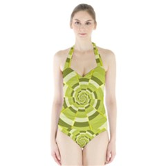 Crazy Dart Green Gold Spiral Halter Swimsuit by designworld65