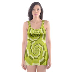 Crazy Dart Green Gold Spiral Skater Dress Swimsuit by designworld65