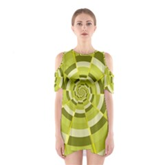 Crazy Dart Green Gold Spiral Cutout Shoulder Dress by designworld65