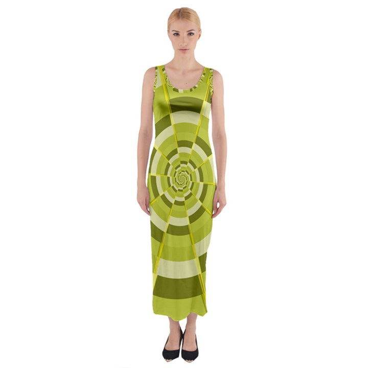 Crazy Dart Green Gold Spiral Fitted Maxi Dress