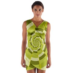 Crazy Dart Green Gold Spiral Wrap Front Bodycon Dress by designworld65