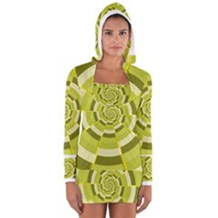 Crazy Dart Green Gold Spiral Women s Long Sleeve Hooded T Shirt by designworld65
