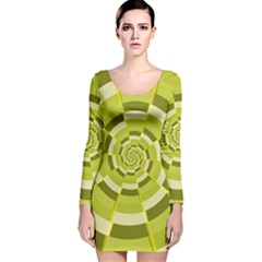 Crazy Dart Green Gold Spiral Long Sleeve Velvet Bodycon Dress by designworld65