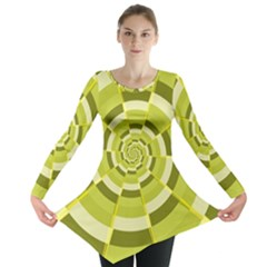Crazy Dart Green Gold Spiral Long Sleeve Tunic  by designworld65