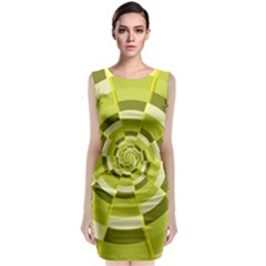 Crazy Dart Green Gold Spiral Classic Sleeveless Midi Dress by designworld65