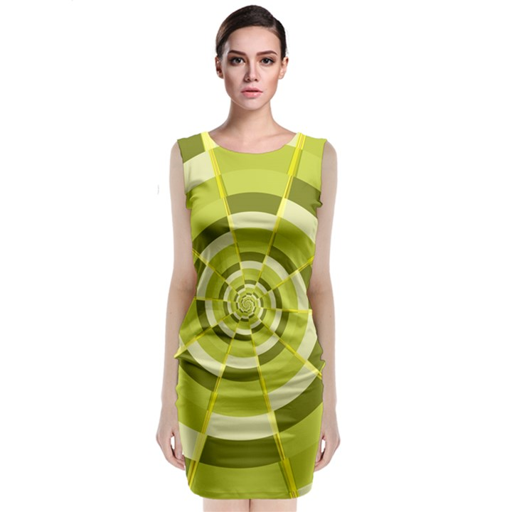 Crazy Dart Green Gold Spiral Classic Sleeveless Midi Dress