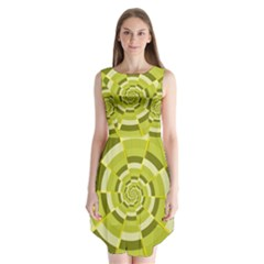 Crazy Dart Green Gold Spiral Sleeveless Chiffon Dress   by designworld65