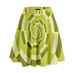 Crazy Dart Green Gold Spiral High Waist Skirt by designworld65