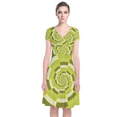 Crazy Dart Green Gold Spiral Short Sleeve Front Wrap Dress