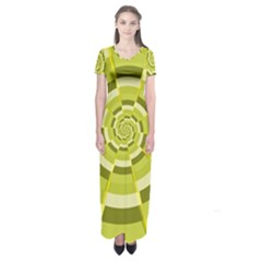 Crazy Dart Green Gold Spiral Short Sleeve Maxi Dress by designworld65