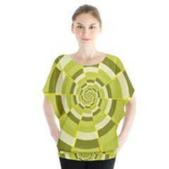 Crazy Dart Green Gold Spiral Blouse by designworld65