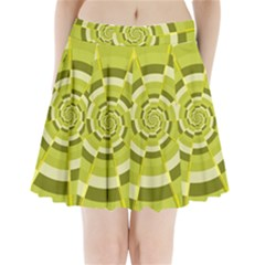 Crazy Dart Green Gold Spiral Pleated Mini Skirt by designworld65