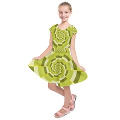 Crazy Dart Green Gold Spiral Kids  Short Sleeve Dress by designworld65