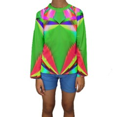 Colorful Abstract Butterfly With Flower  Kids  Long Sleeve Swimwear by designworld65
