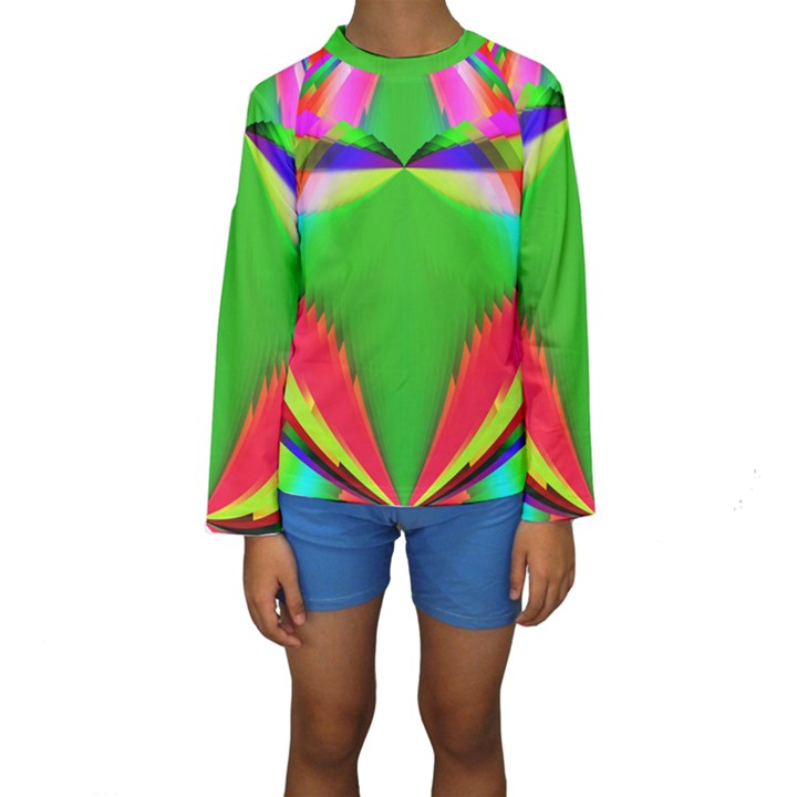 Colorful Abstract Butterfly With Flower  Kids  Long Sleeve Swimwear