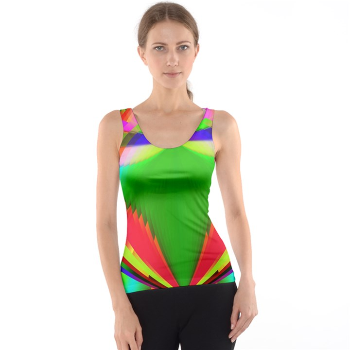 Colorful Abstract Butterfly With Flower  Tank Top