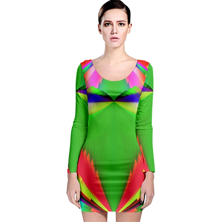Colorful Abstract Butterfly With Flower  Long Sleeve Bodycon Dress