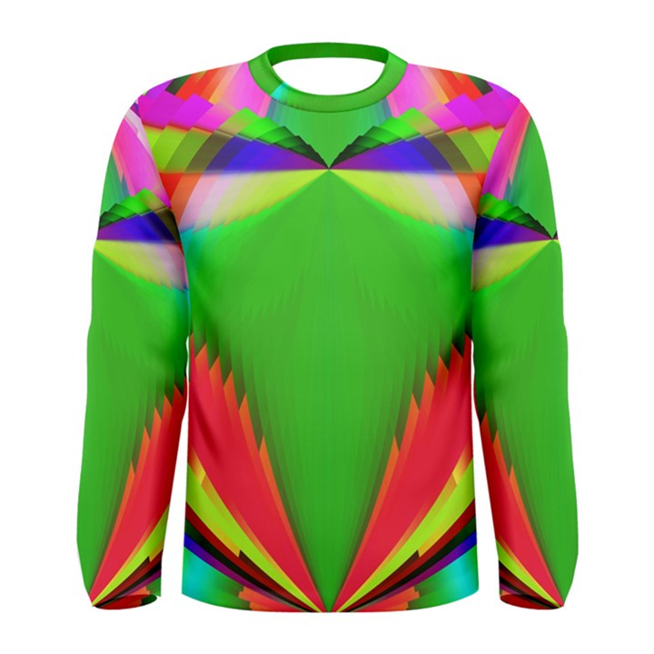 Colorful Abstract Butterfly With Flower  Men s Long Sleeve Tee